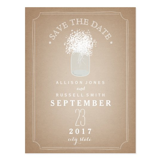 Baby's Breath Mason Jar Barn Cardstock Inspired Postcard
