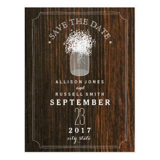 Baby's Breath Mason Jar Barn Wood Save The Date Postcard