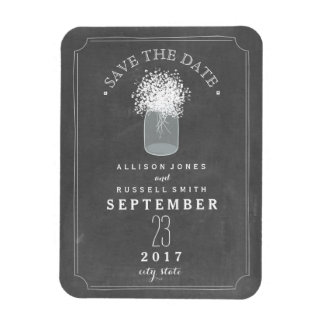 Baby's Breath Mason Jar Chalkboard Save The Date Magnet