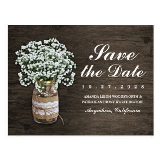 Baby's Breath Mason Jar Rustic Save The Date Cards