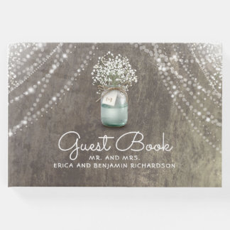 Baby's Breath Mason Jar Rustic Wedding Guest Book