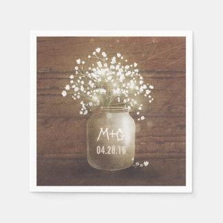 Baby's Breath Mason Jar Rustic Wedding Paper Serviettes