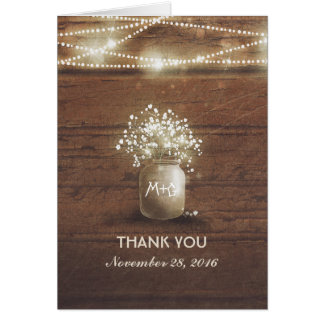 Baby's Breath Mason Jar Rustic Wedding Thank You Card