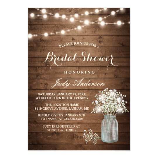 Babys Breath Mason Jar Rustic Wood Bridal Shower Card Zazzlecomau