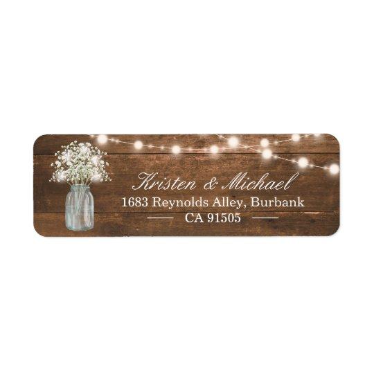 Baby's Breath Mason Jar String Lights Rustic Wood Return Address Label