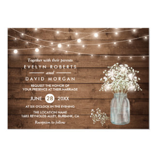 Baby's Breath Mason Jar String Lights Wedding Card