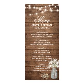 Baby's Breath Mason Jar String Lights Wedding Menu Rack Cards
