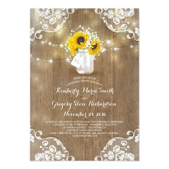 Baby's Breath Mason Jar Sunflower Rehearsal Dinner Card