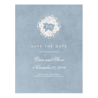 Baby's Breath Monogram Dusty Blue Save the Date Postcard
