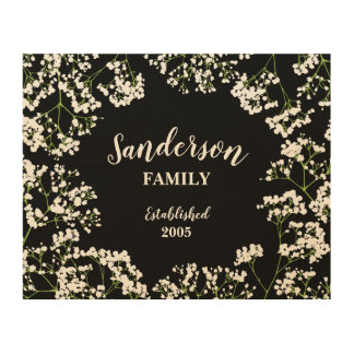 Babys Breath on Black Personalized Family Wood Print