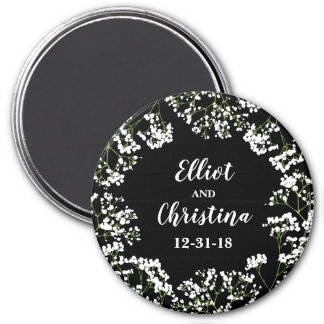 Babys Breath Personalized Save the Wedding Date Magnet