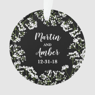 Babys Breath Personalized Wedding Date on Black Ornament