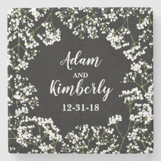 Babys Breath Personalized Wedding Date on Black Stone Coaster