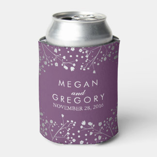 Baby's Breath Plum and Silver Floral Wedding Can Cooler