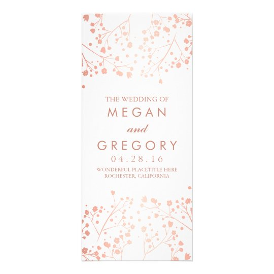 Baby's Breath Rose Gold and White Wedding Programs Custom Rack Card