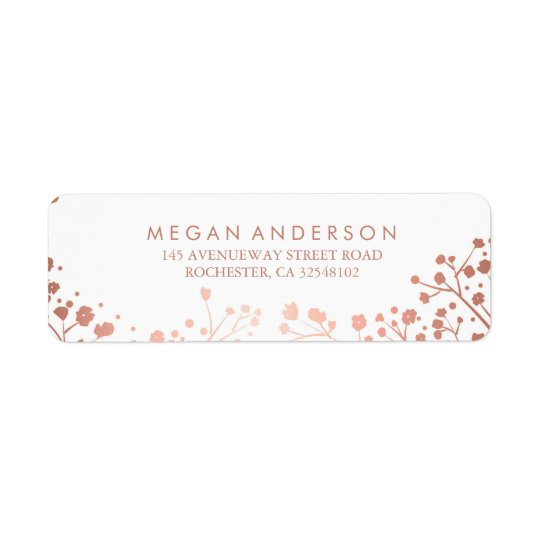 Baby's Breath Rose Gold and White Wedding Return Address Label