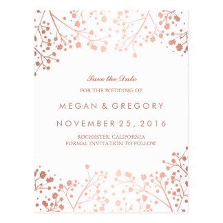 baby's breath rose gold floral save the date postcard