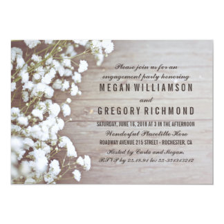 Baby's Breath Rustic Engagement Party Card