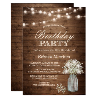 Baby's Breath Rustic String Lights Birthday Party Card