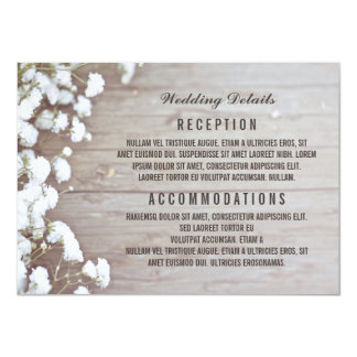 Baby's Breath Rustic Wedding Details / Information Card