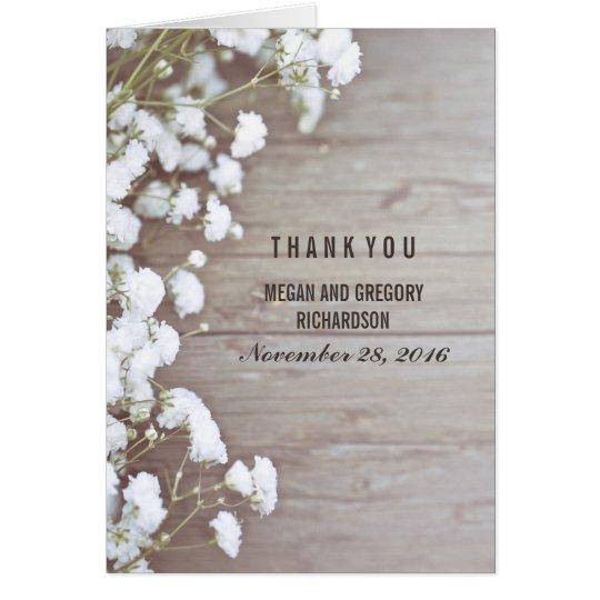 Baby's Breath Rustic Wedding Thank You Card