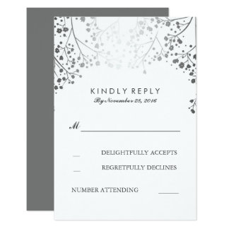 Baby's Breath Silver Wedding RSVP Cards 9 Cm X 13 Cm Invitation Card