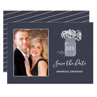 Baby's Breath Spring Wedding Save the Date photo Card