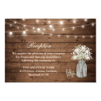 Baby's Breath String Light Reception Accommodation Card