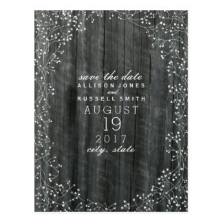 Baby's Breath Wood Inspired Save The Date Postcard