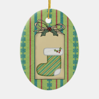 Baby's Christmas Green Gift Tag Ornament