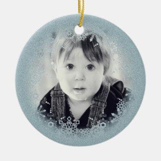 Baby's Christmas Ornament - Blue Sparkle Snowflake