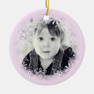 Baby's Christmas Ornament Whimsical Pink Snowflake