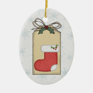 Baby's Christmas Plaid Gift Tag Ornament