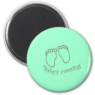 babys coming feet refrigerator magnets