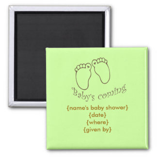 babys coming feet square magnet