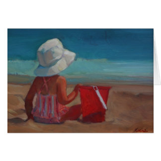 Baby's Day at the Beach - with bucket and sunhat Card