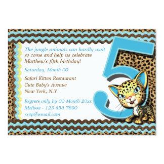 Baby's fifth birthday jungle safari custom invitation