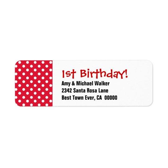 Baby's First Birthday 1st Cute Polka Dot Pattern Return Address Label