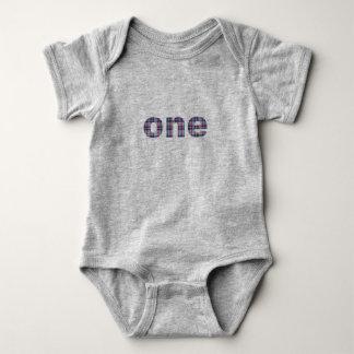 Baby's First Birthday Plaid One 12 Months Jersey Baby Bodysuit