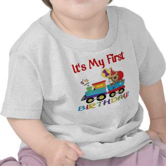 Baby's first birthday train tshirt