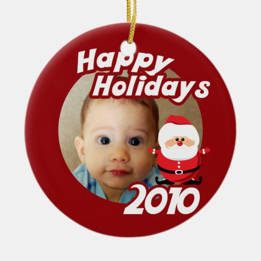 Babys first christmas 2010 round ceramic decoration zazzle for Babys first christmas decoration