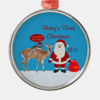 Baby's First Christmas 2011 Round Photo Ornament