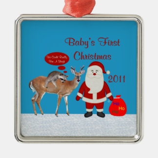 Baby's First Christmas 2011 Square Photo Ornament