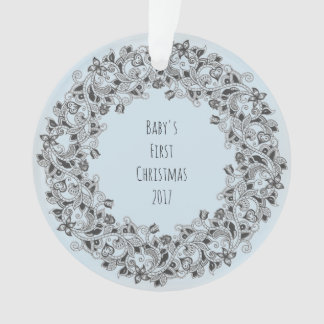 Baby's First Christmas 2017 light blue ornament