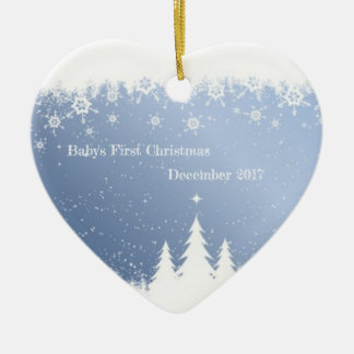 Baby's First Christmas 2017 (winter forest) Ceramic Ornament