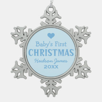 Baby's First Christmas | Baby Boy Pewter Snowflake Decoration
