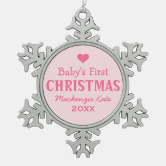 Baby's First Christmas | Baby Girl Pewter Snowflake Decoration