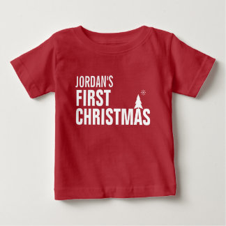 Baby's First Christmas Baby T-Shirt Red