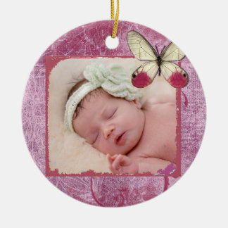 Baby's First Christmas Burgundy Butterfly Ornament