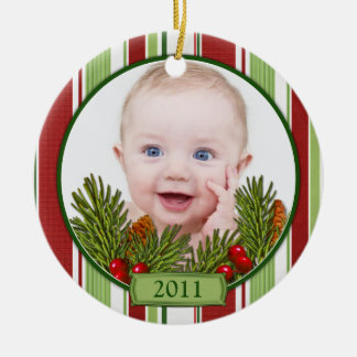 Baby's First Christmas Candy Stripes Double-Sided Ceramic Round Christmas Ornament